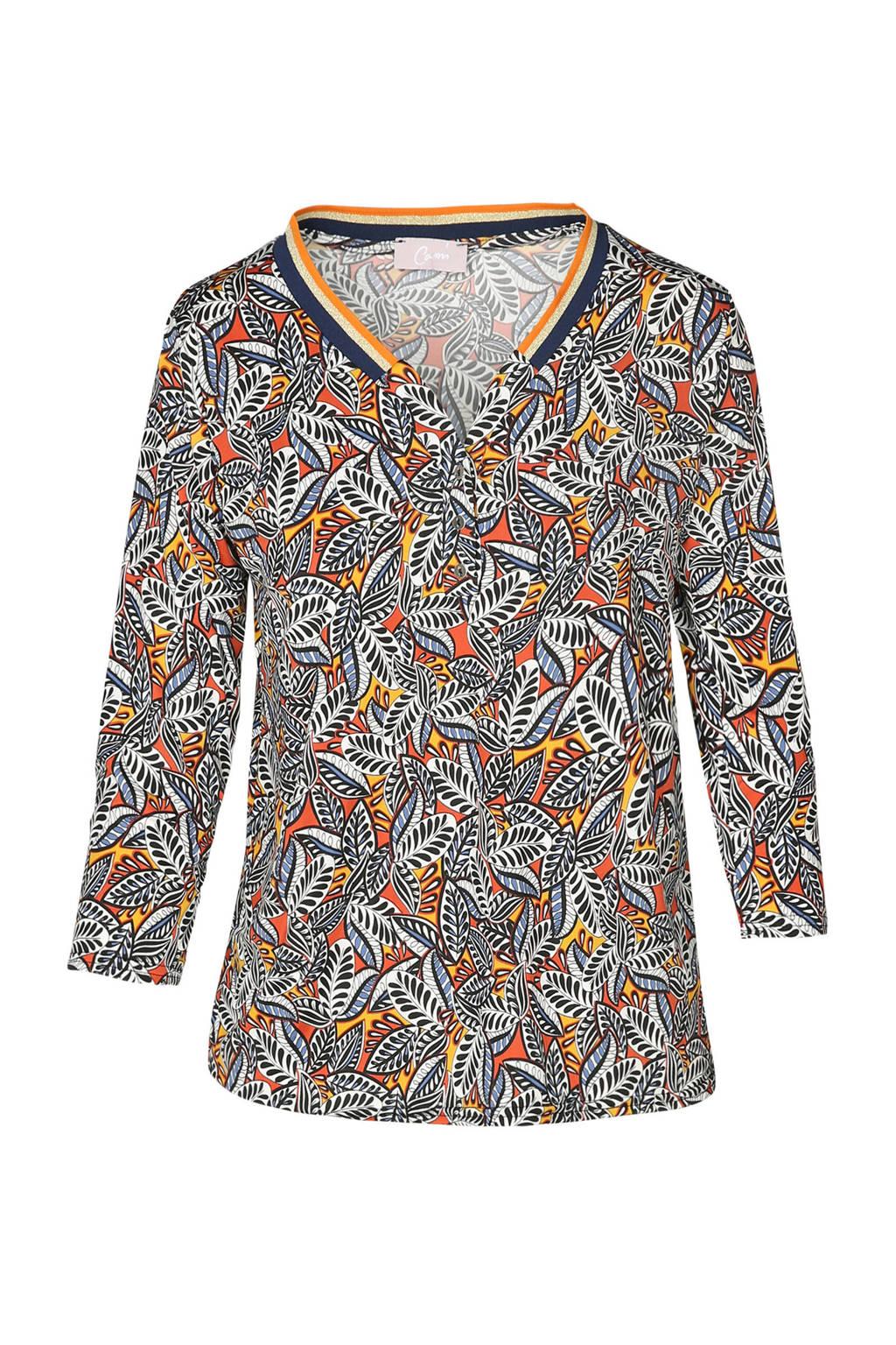 Cassis T-shirt met allover print, Oker