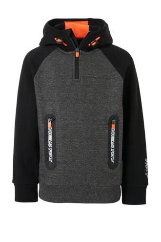 Here & There gemêleerde hoodie grijs