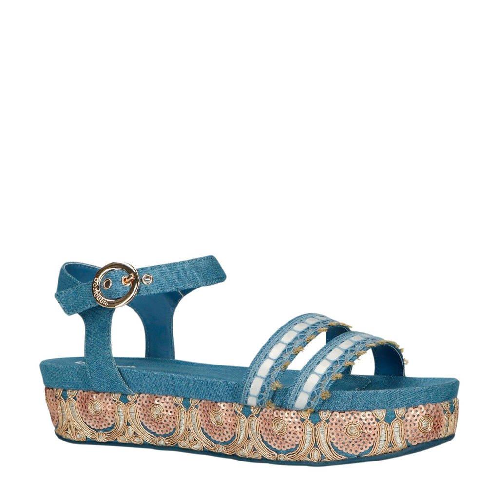 Desigual Triumph Exotic sandalen blauw, Blauw/goud