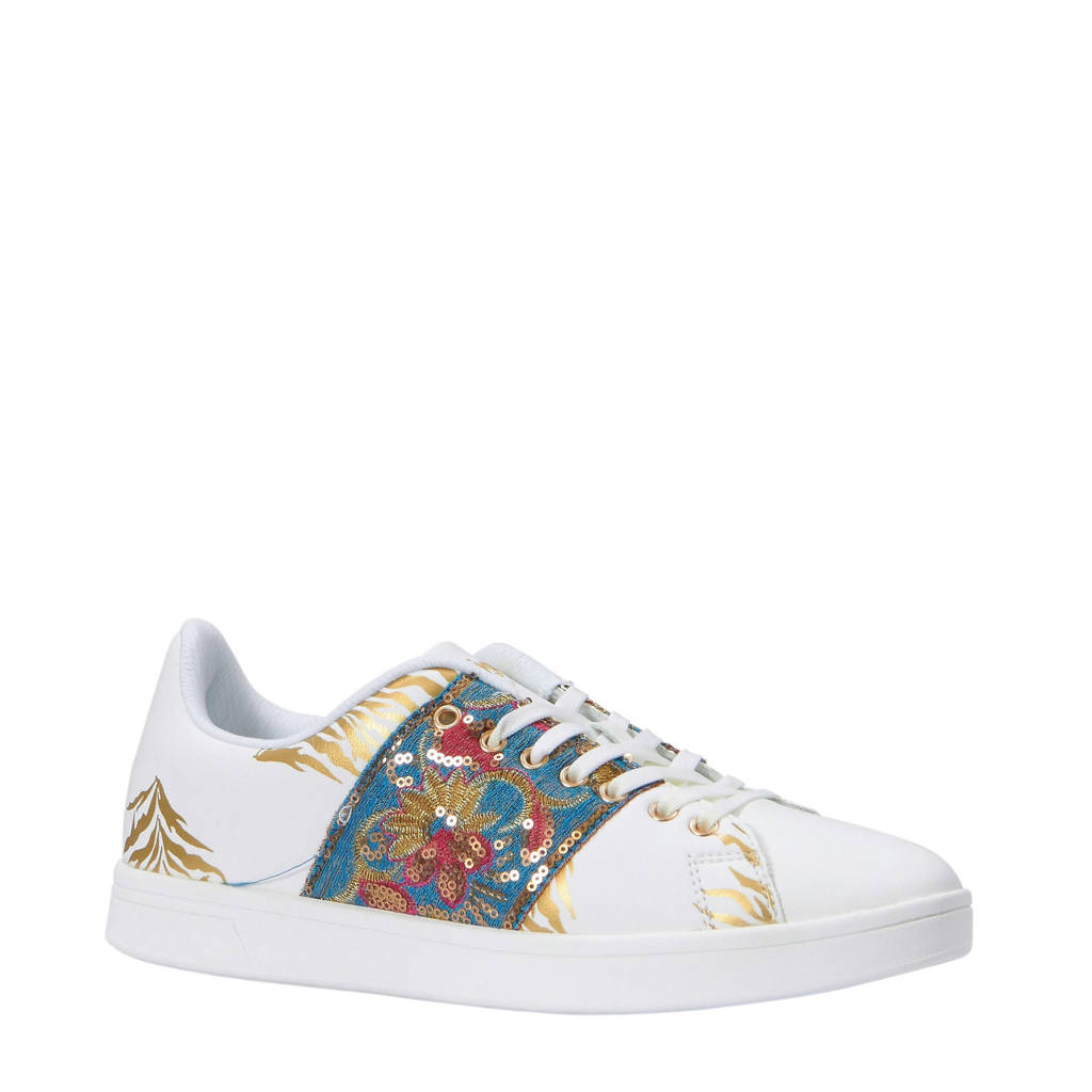 Desigual  Cosmic Exotic Tropical sneakers wit, Wit