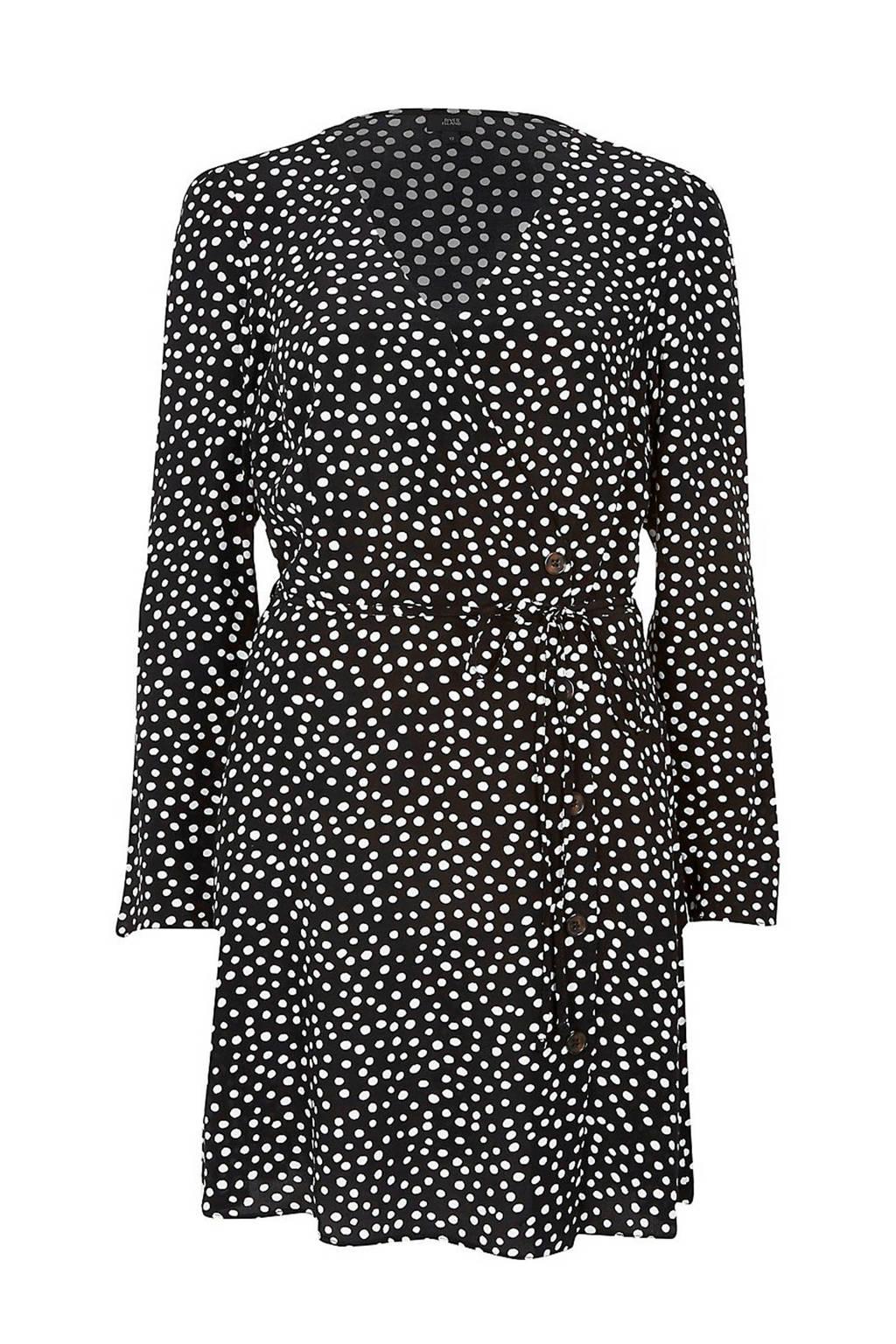 River Island jurk met stippen, Zwart/wit