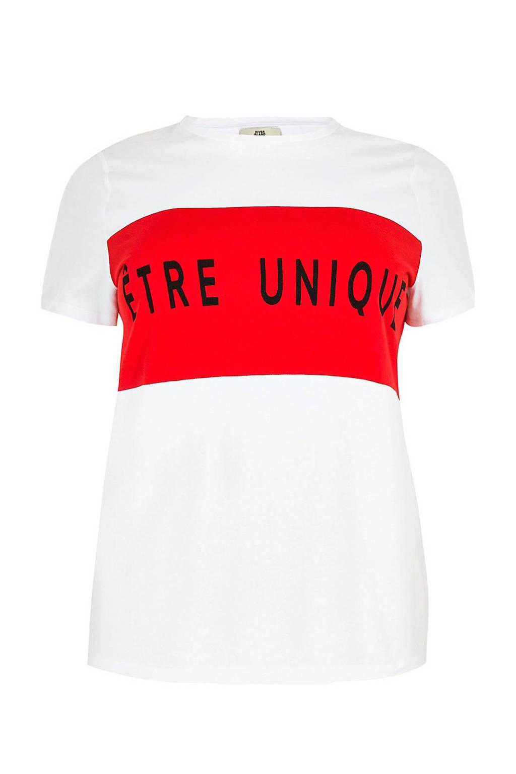River Island T-shirt met tekstopdruk wit, Wit/rood