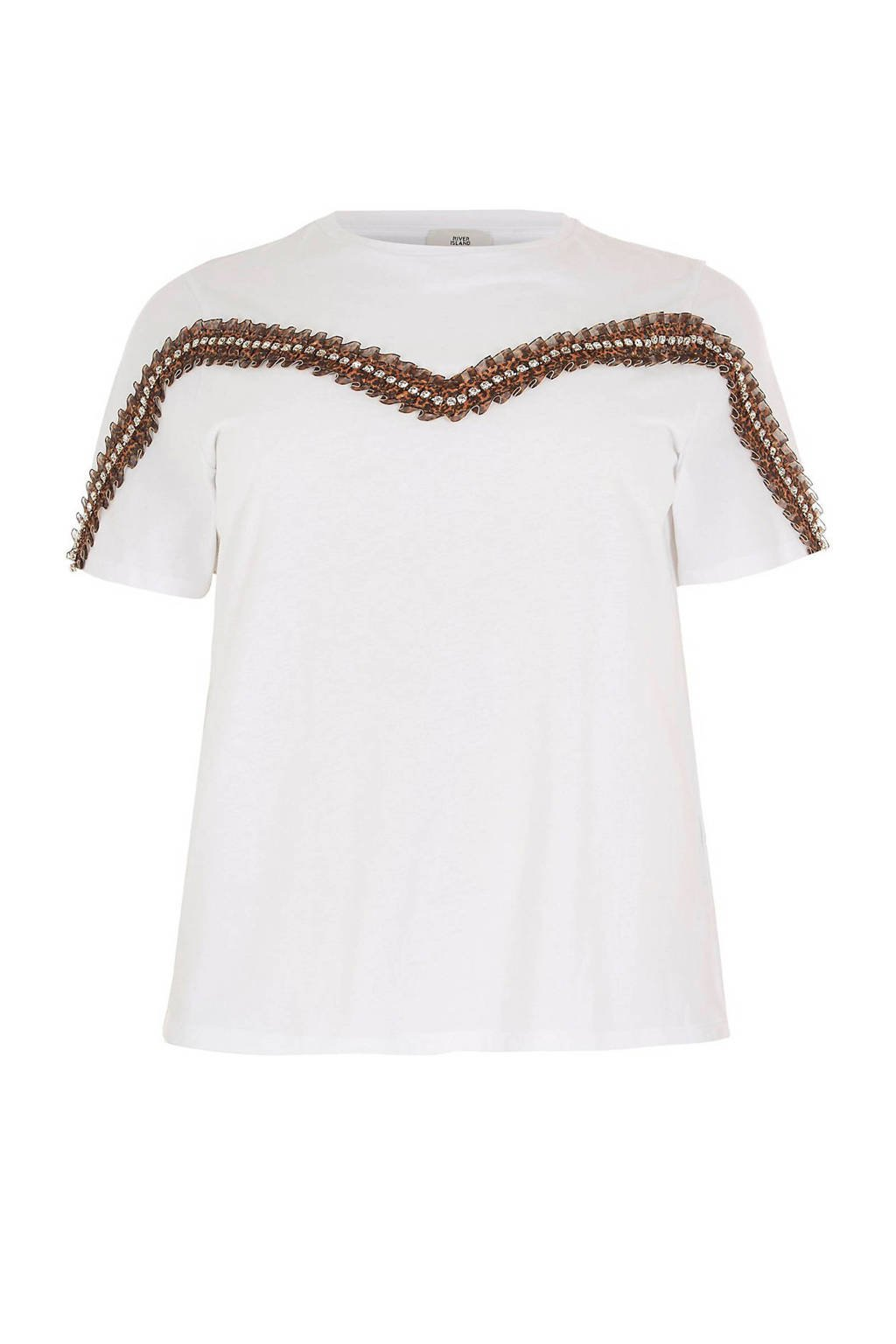 River Island Plus T-shirt met sierkralen wit, Wit