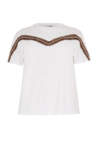 Plus T-shirt met sierkralen wit