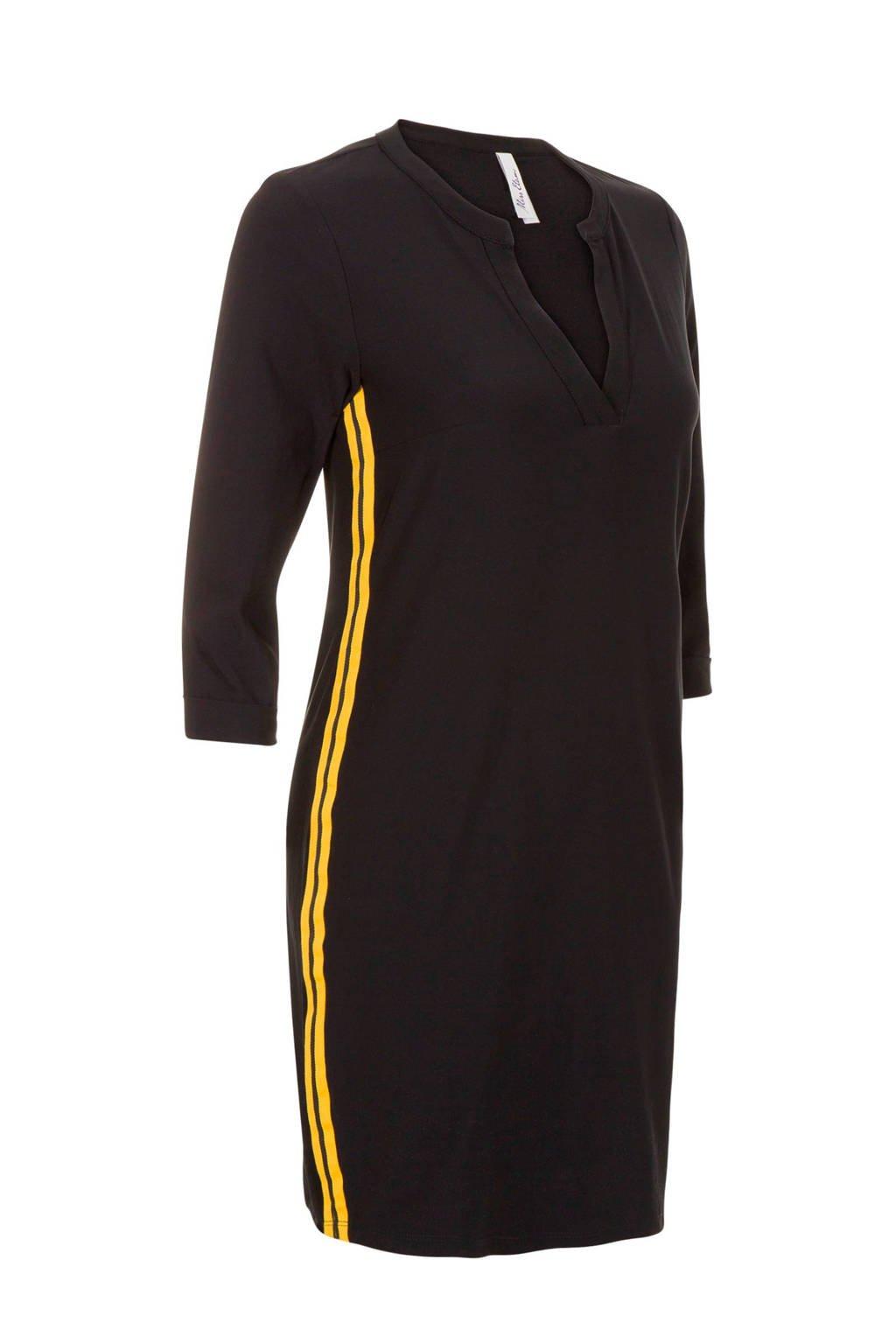 Miss Etam Regulier jurk van travelstof met zijstreep zwart, Zwart/geel