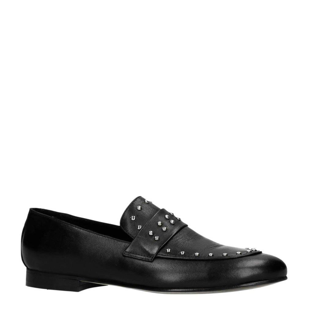 Sacha   leren loafers met studs, Zwart