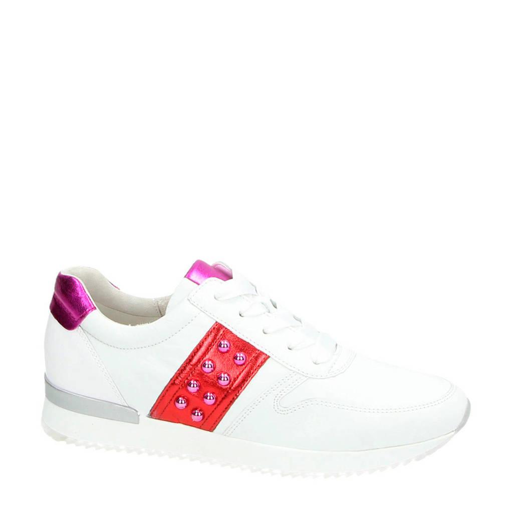 Gabor  leren sneakers wit, Wit/rood