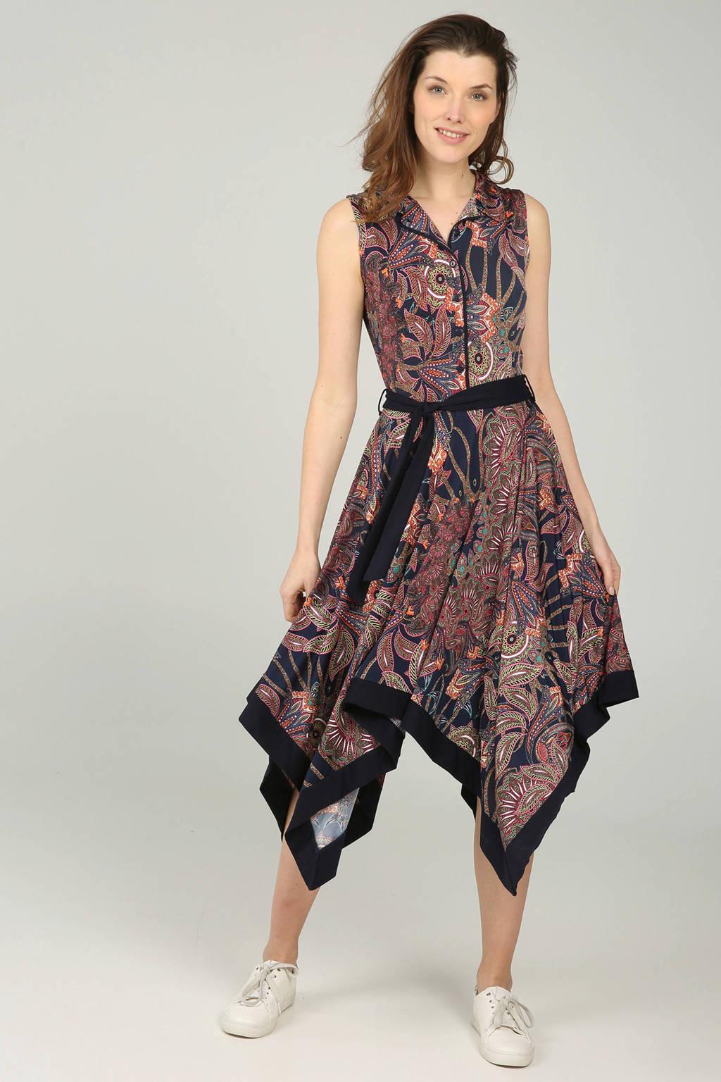 Cassis jurk met paisley print marine, Marineblauw