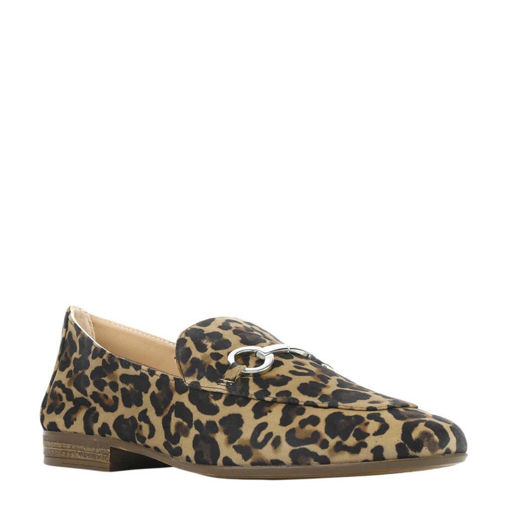 Unisa Durito Leopard suède loafers panterprint, Bruin