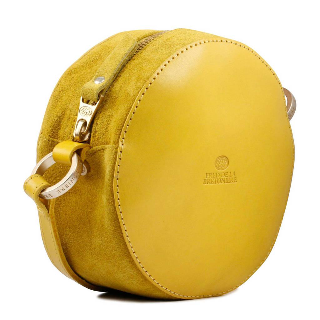 46ba14cf4b3 Fred de la Bretoniere leren schoudertas geel | wehkamp