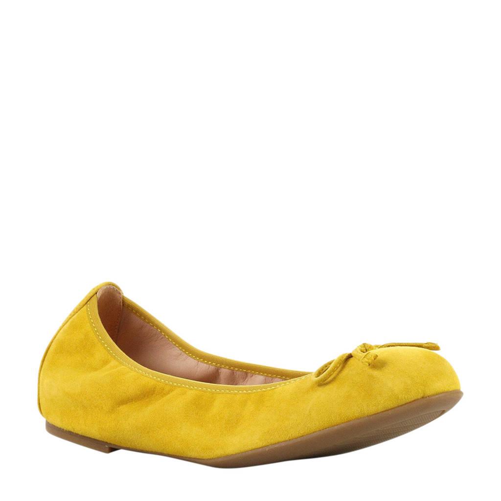 Unisa   Acor Na suède ballerina's geel, Geel