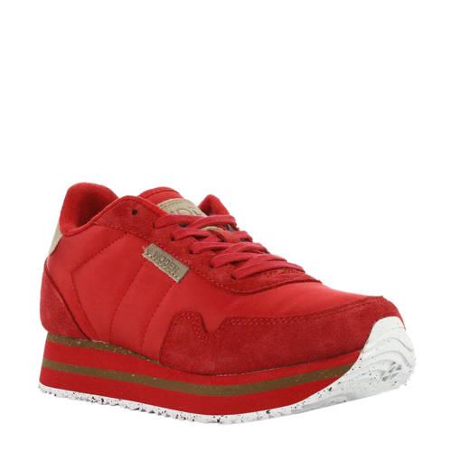 Woden Nora II Plateau sneakers rood