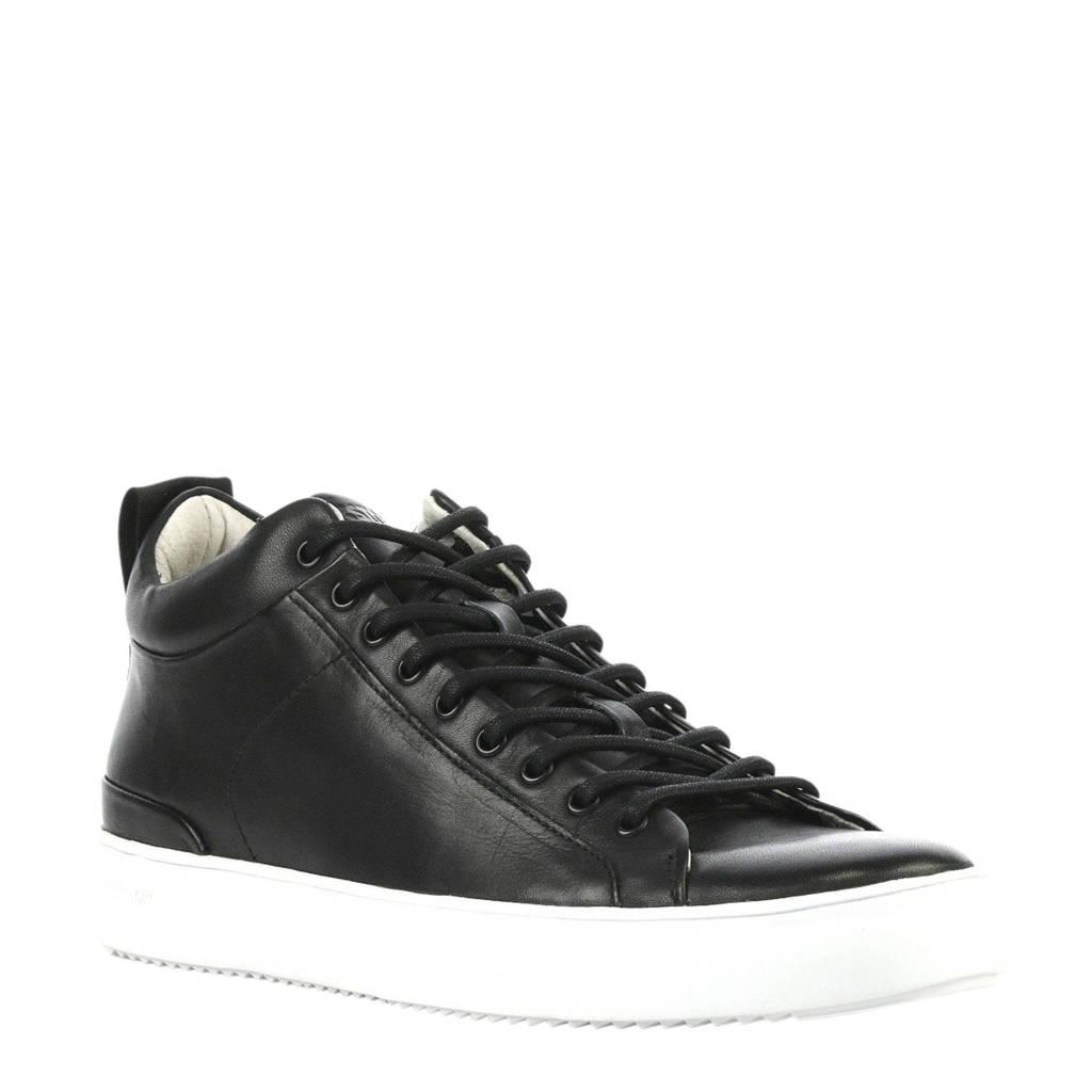 Blackstone  leren sneakers zwart, Zwart