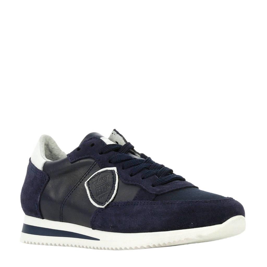Hip   H1895 leren sneakers donkerblauw, Blauw
