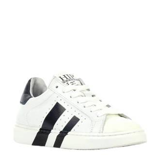 leren sneakers wit/blauw