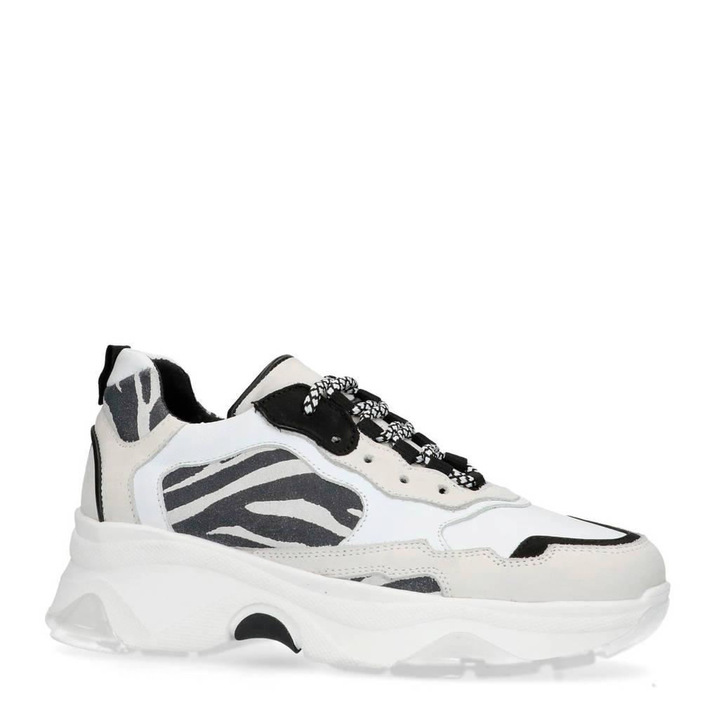 Sacha  leren dad sneakers met zebraprint, Wit