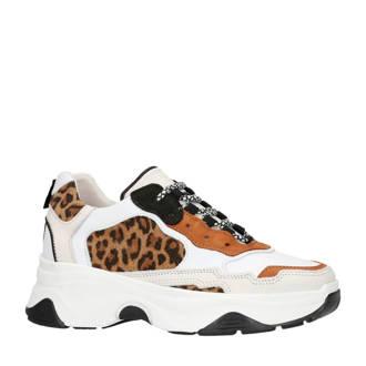 leren dad sneakers met panterprint