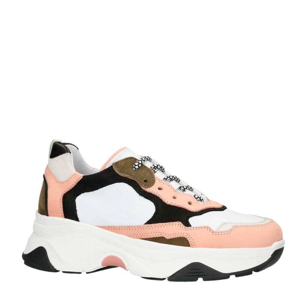Sacha   leren dad sneakers roze, Wit/roze/zwart