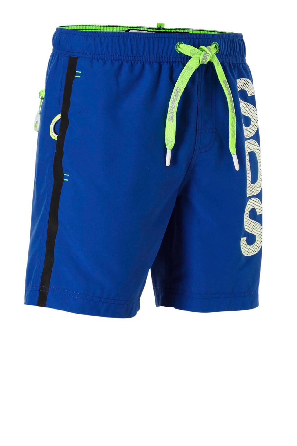 Superdry Sport zwemshort kobalt, Kobalt/groen/wit
