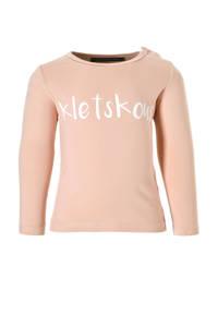 Your Wishes longsleeve Kletskous met tekst roze, Lichtroze