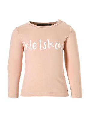 longsleeve Kletskous met tekst roze