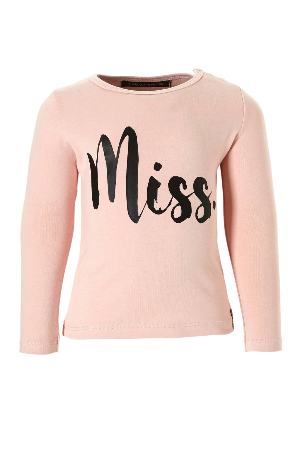 Your Wishes longsleeve Miss met tekst roze, Lichtroze