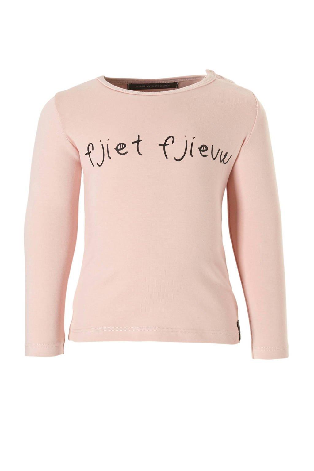 Your Wishes longsleeve Fjiet Fjieuw met tekst roze, Lichtroze