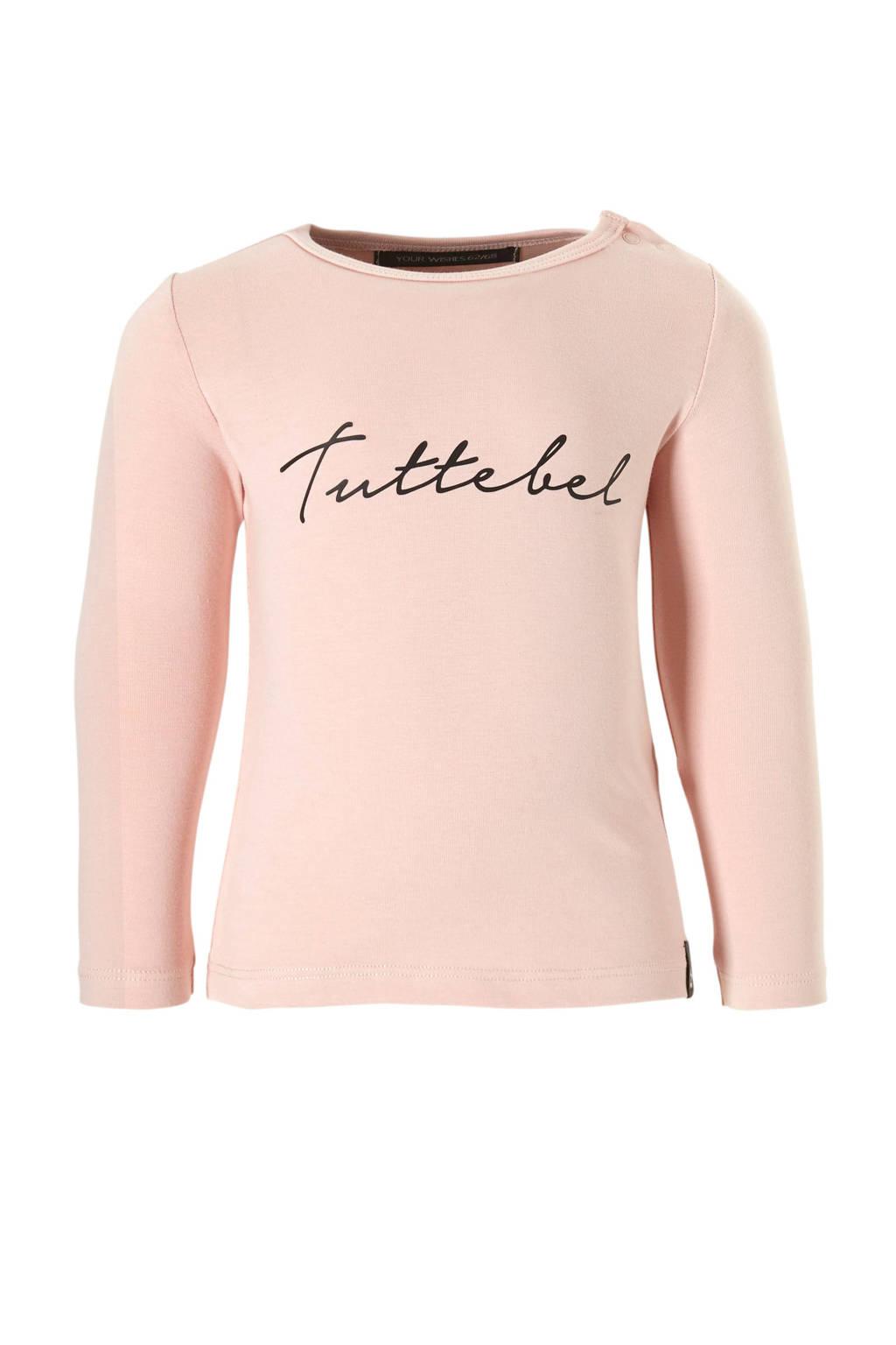 Your Wishes longsleeve Tuttebel met tekst roze, Lichtroze