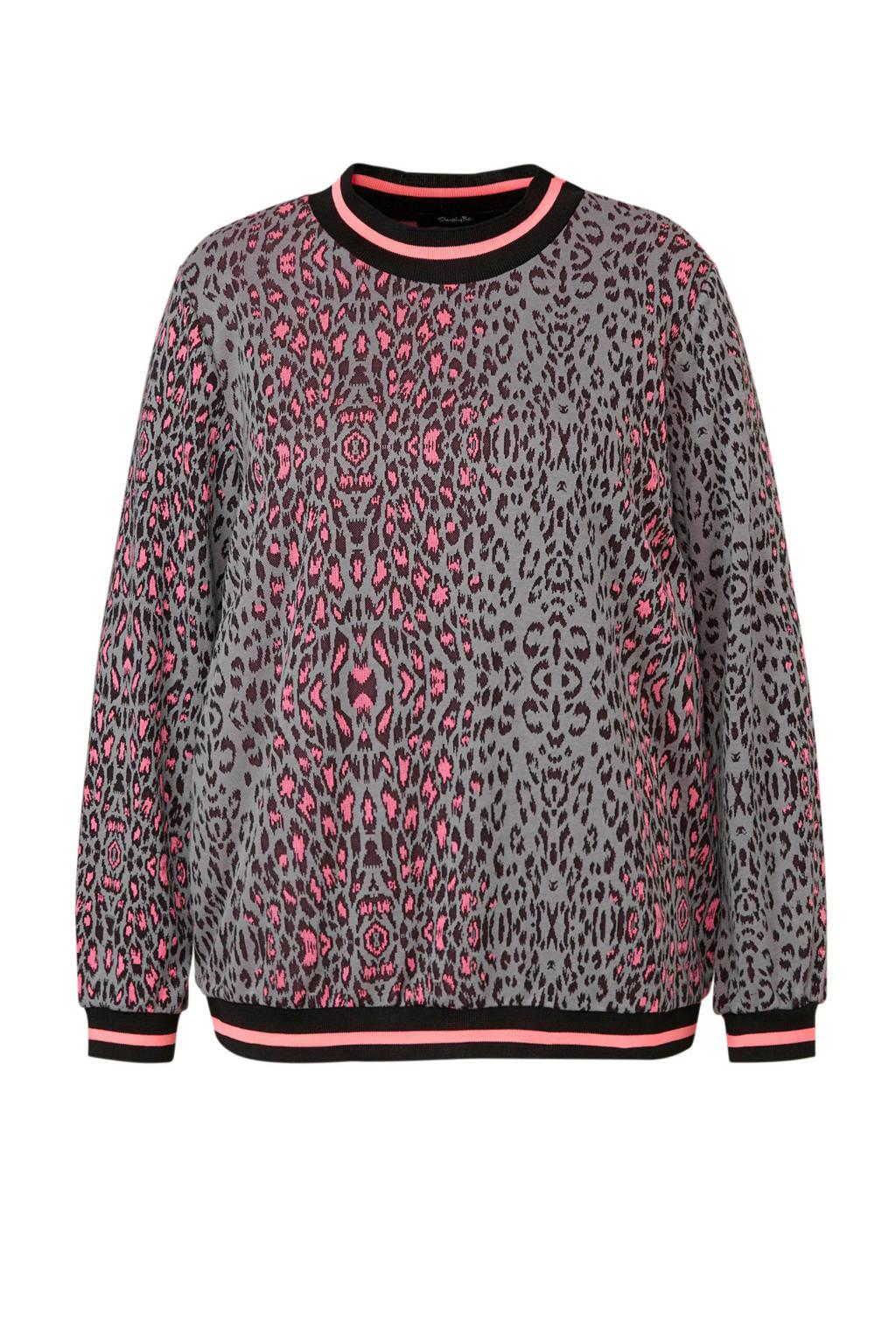 Simply Be trui met panterprint, Grijs/roze/zwart