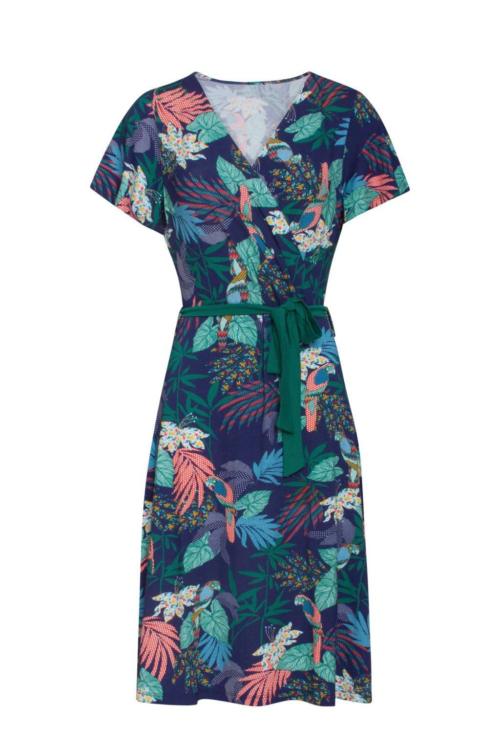 Smashed Lemon jurk met all over print en overslagkraag, Donkerblauw/rood/groen