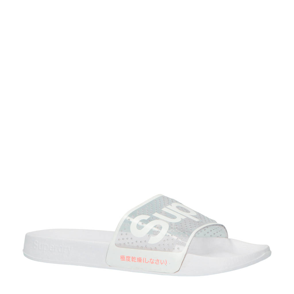 Superdry Sport PERF Jelly Pool Slide badslippers wit, Wit