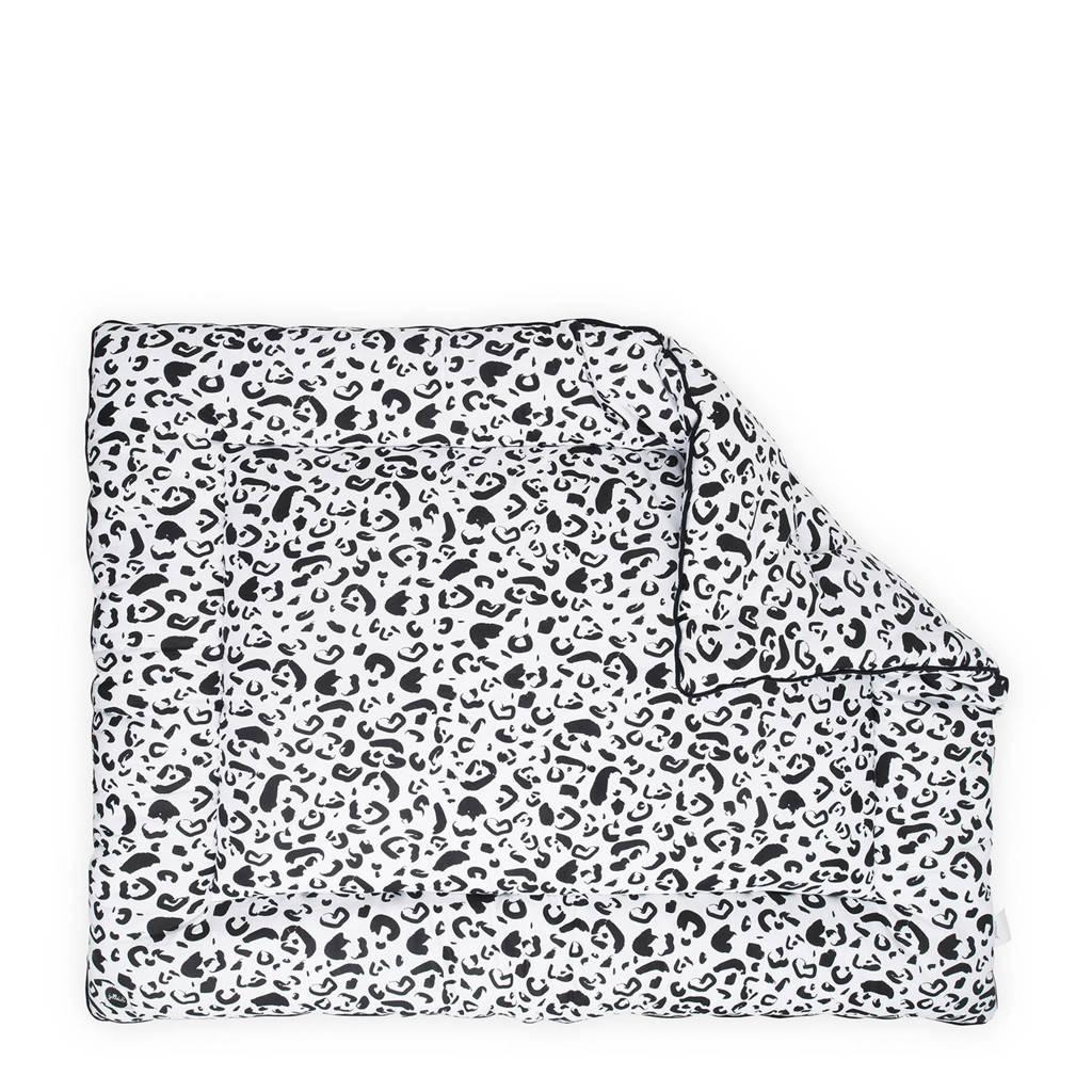 Jollein Leopard boxkleed 80x100 cm, Zwart/wit