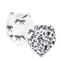 Jollein Leopard bandana slab hydrofiel - set van 2, Zwart/wit