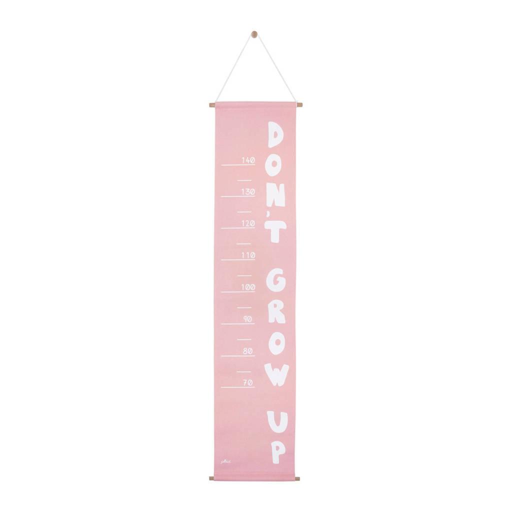 Jollein ABC canvas groeimeter roze