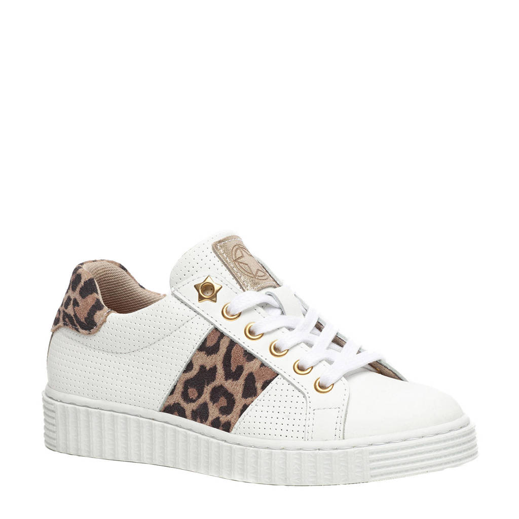 0e9ed4c3b60 Groot leren sneakers met panterprint   wehkamp