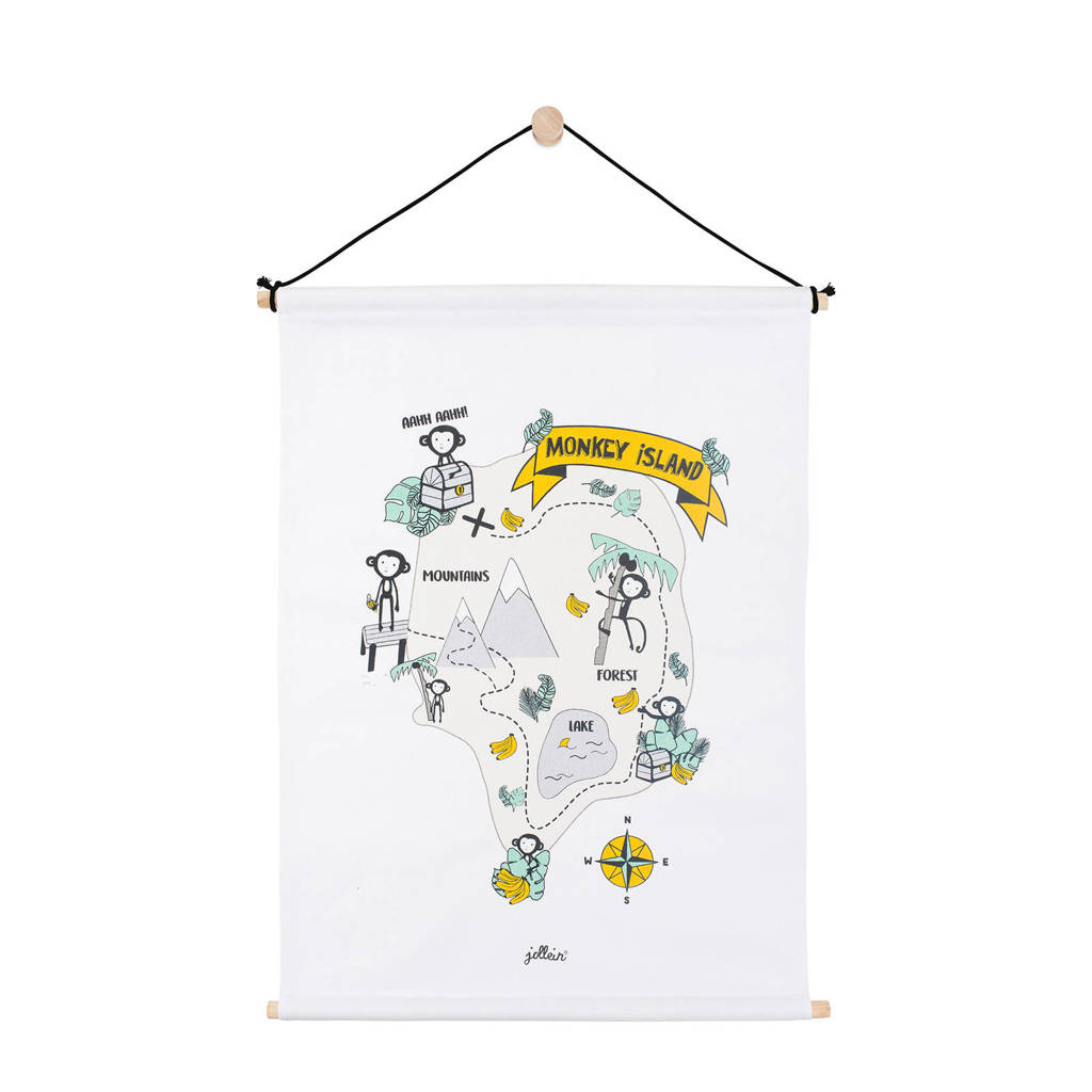 Jollein Monkey island poster (42x60 cm), Wit