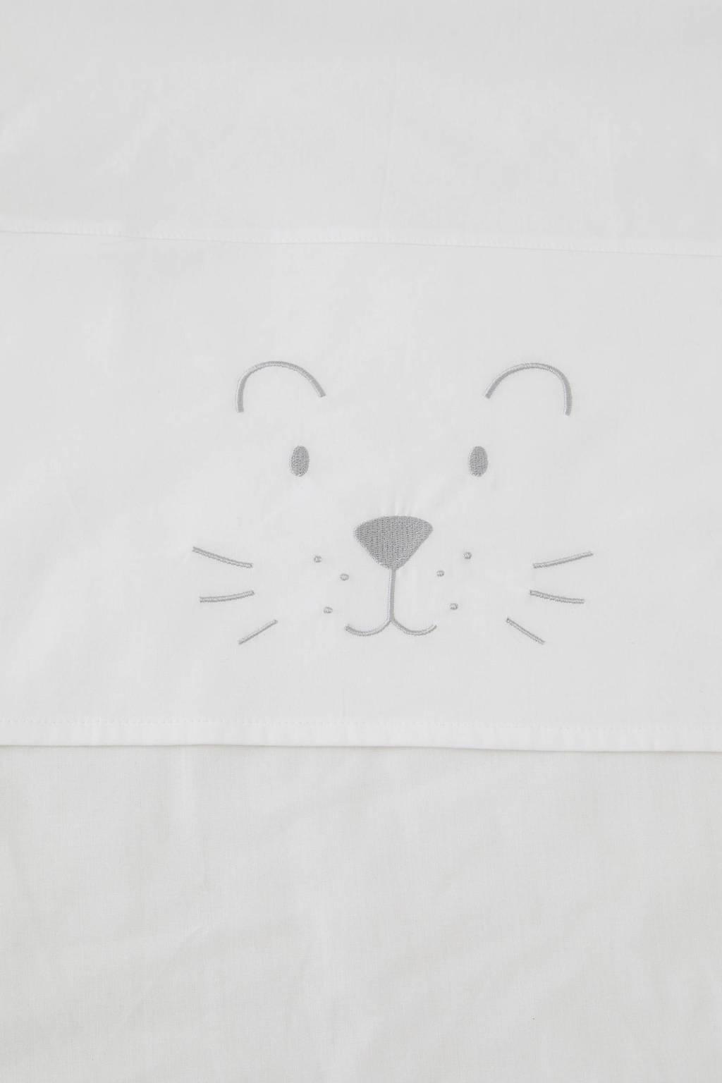 Jollein ledikantlaken 120x150 cm little lion, Grijs/wit
