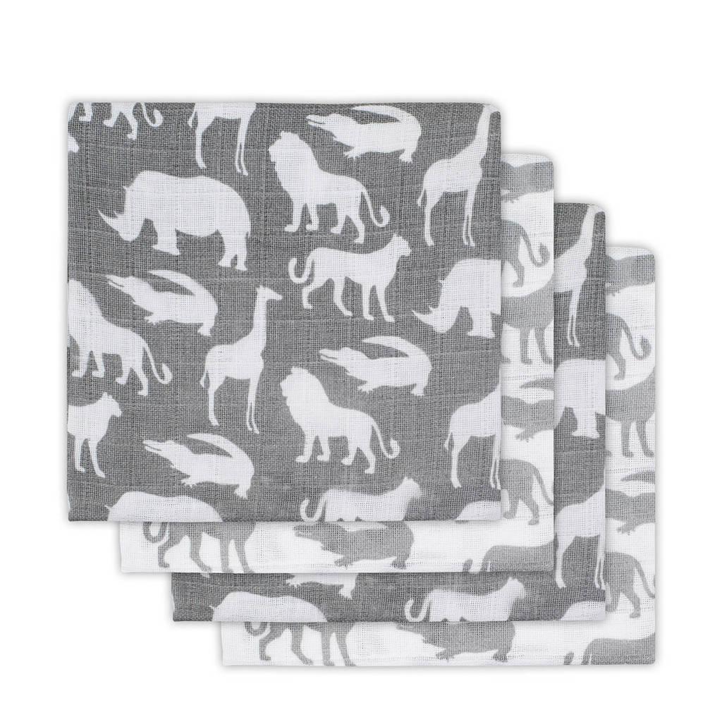 Jollein Safari hydrofiele luiers stone grey - set van 4, Grijs