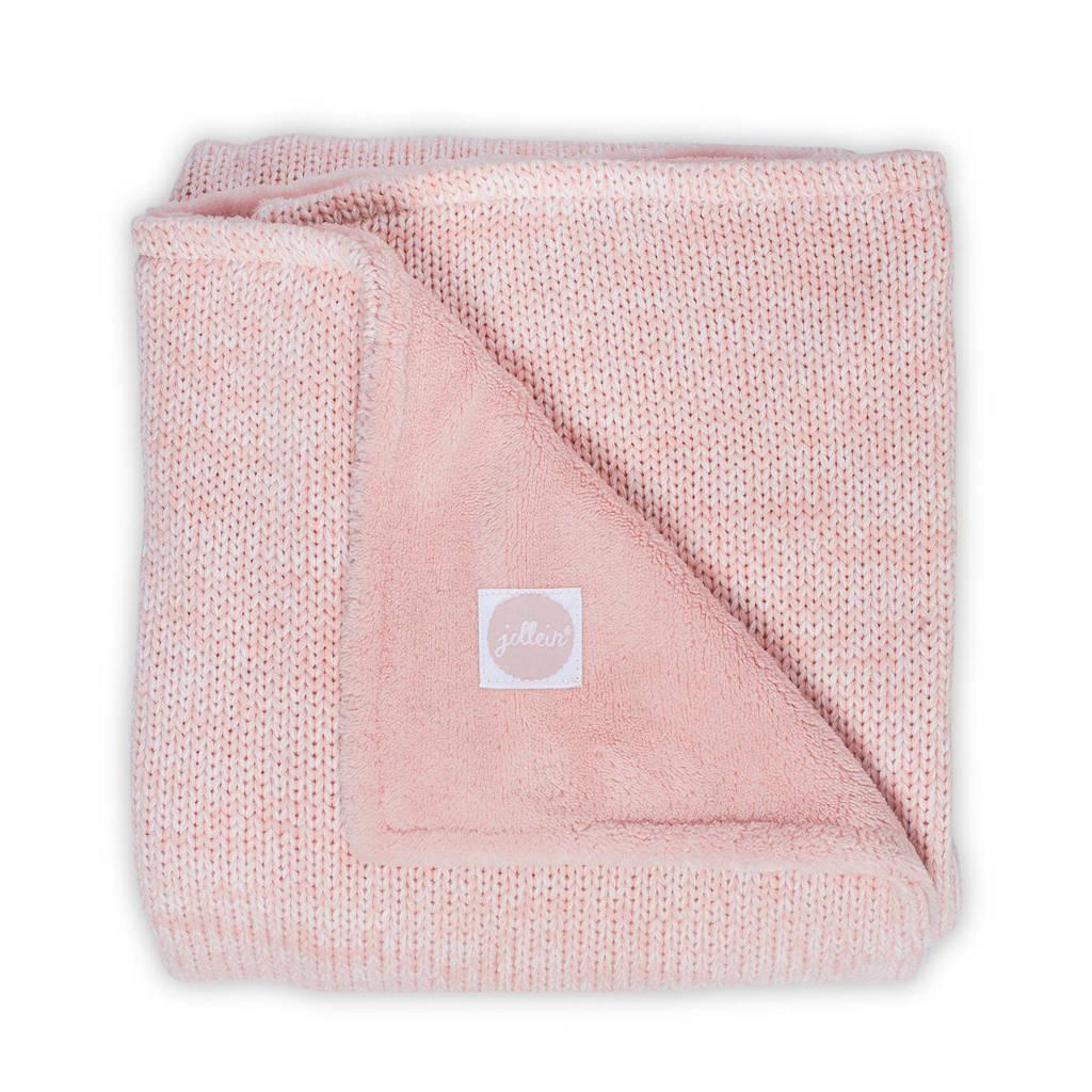 Jollein Melange knit ledikantdeken 100x150 cm soft pink, Roze