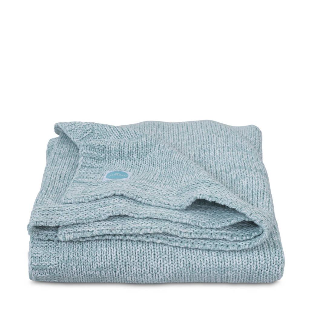 Jollein Melange knit wiegdeken 75x100 cm soft green, Groen