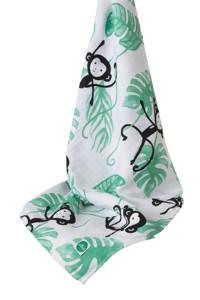 Jollein Monkey island hydrofiele doek XL 140x200 cm, Wit/groen