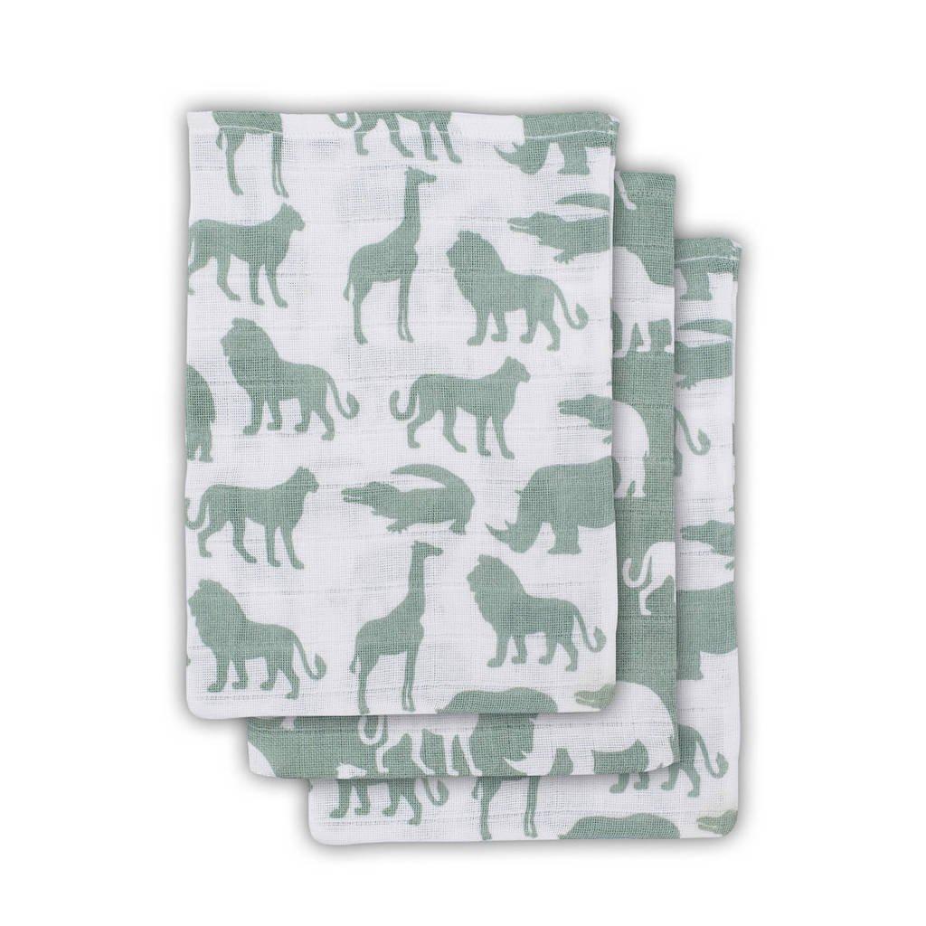 Jollein Safari hydrofiele washandjes 15x20 cm forest green - set van 3, Groen