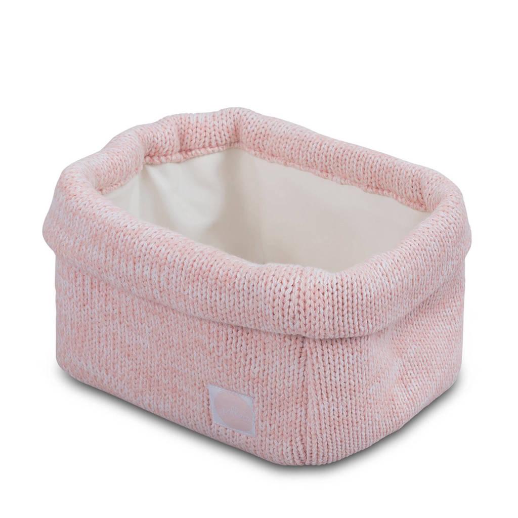 Jollein Melange knit opbergmandje soft pink, Roze