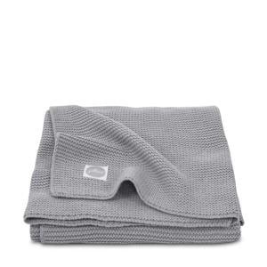 Basic knit wiegdeken 75x100 cm stone grey