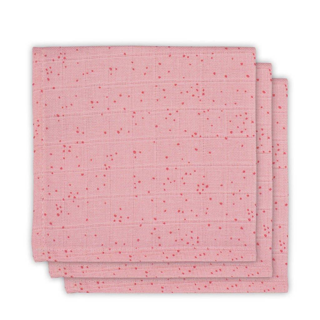 Jollein Mini dots hydrofiele monddoekjes 31x31 cm blush pink - set van 3, Roze