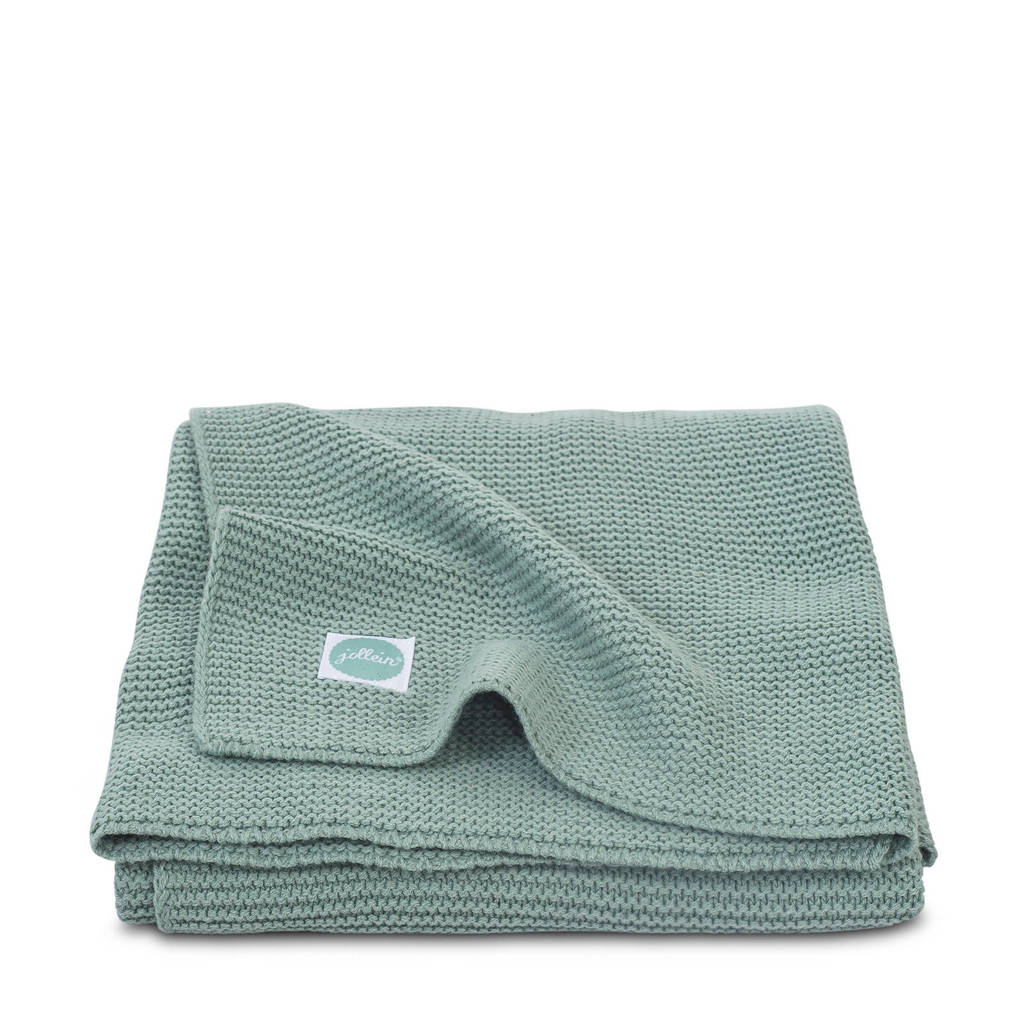 Jollein Basic knit wiegdeken 75x100 cm forest green, Groen