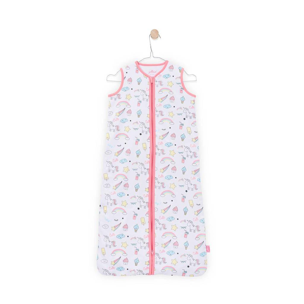 Jollein Unicorn zomer baby slaapzak 110 cm wit/roze