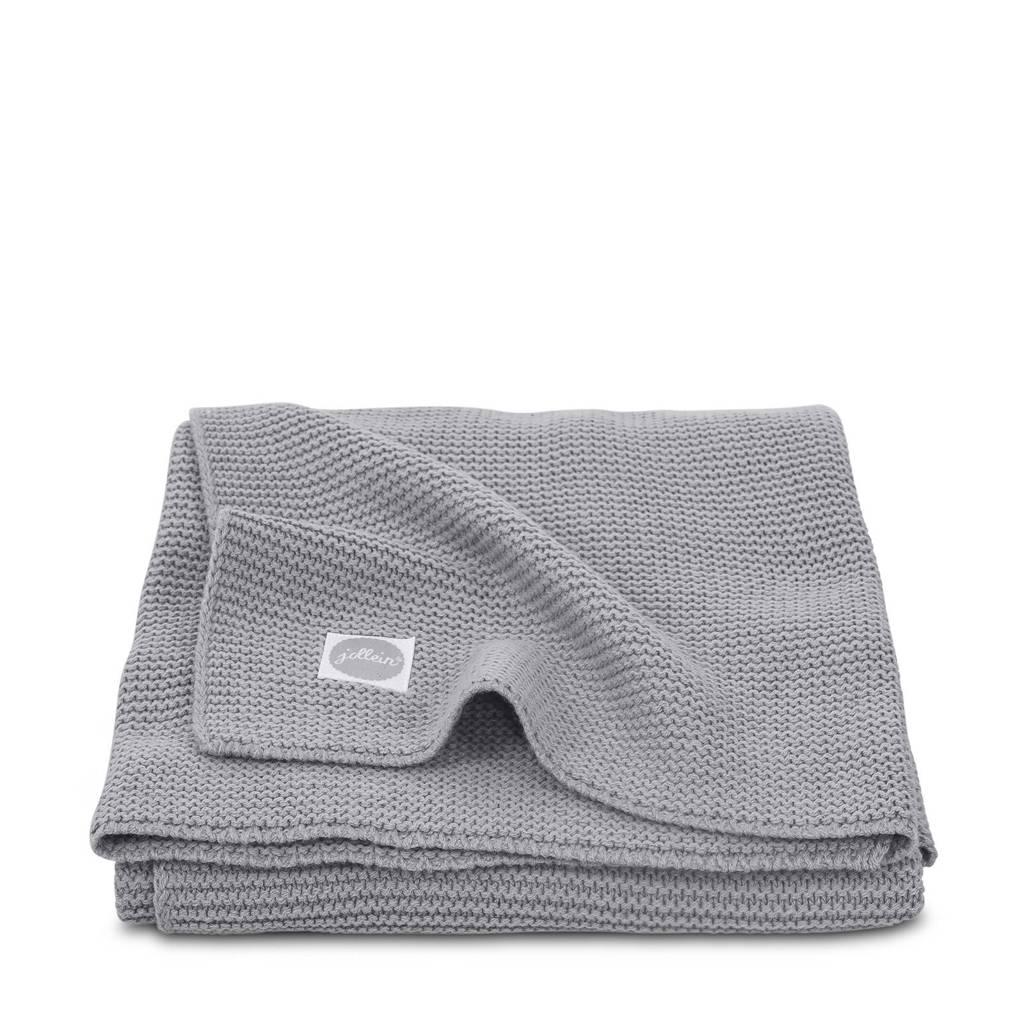 Jollein Basic knit ledikantdeken 100x150 cm stone grey, Grijs