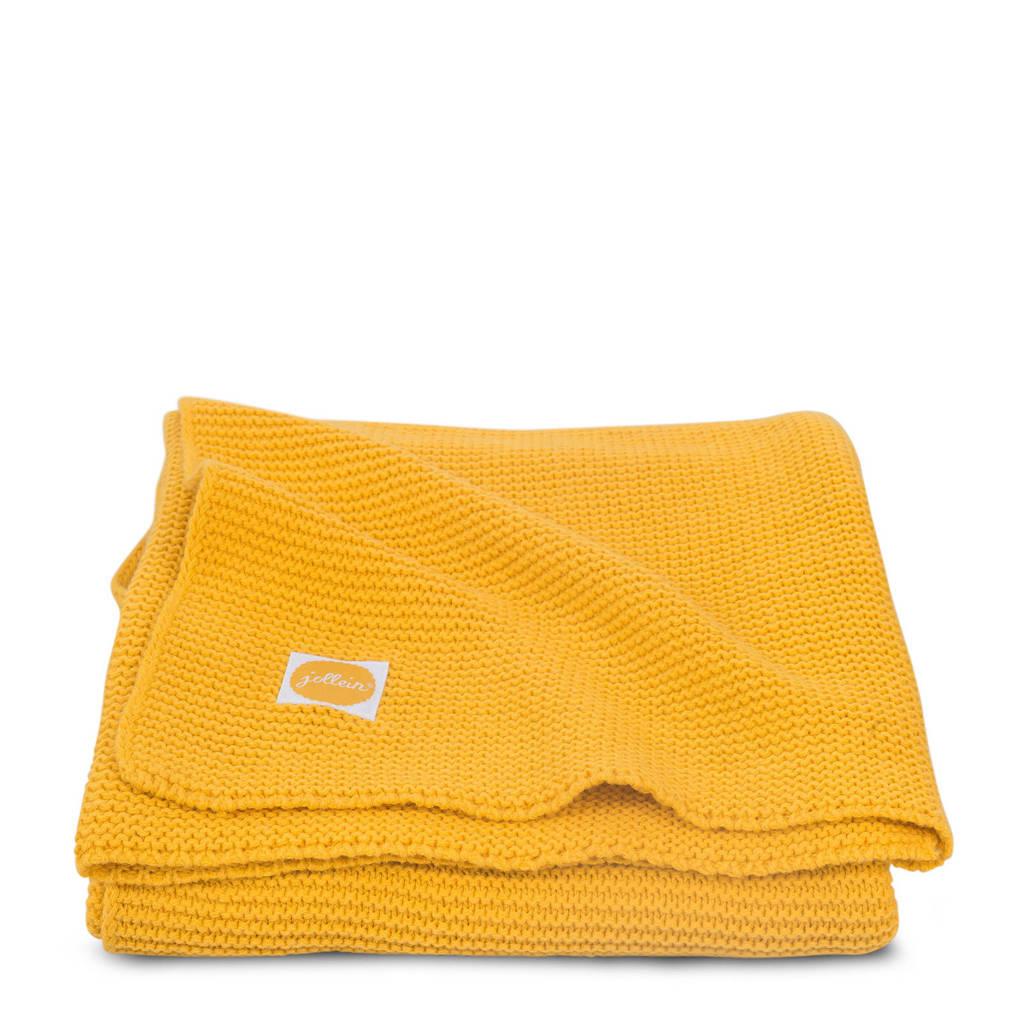 Jollein Basic knit baby ledikantdeken 100x150 cm ocher, Oker