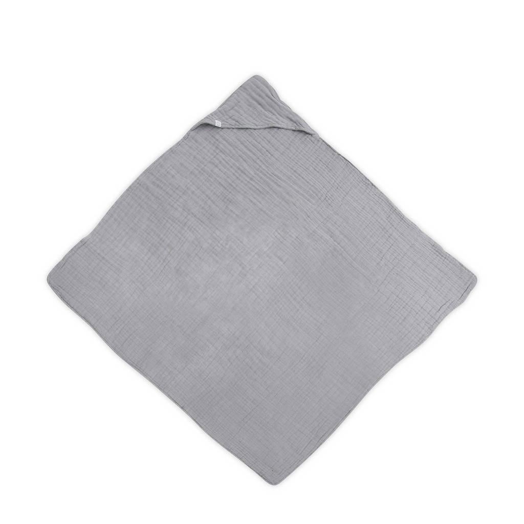 Jollein hydrofiele badcape wrinkled 100x100 cm grijs, Grijs